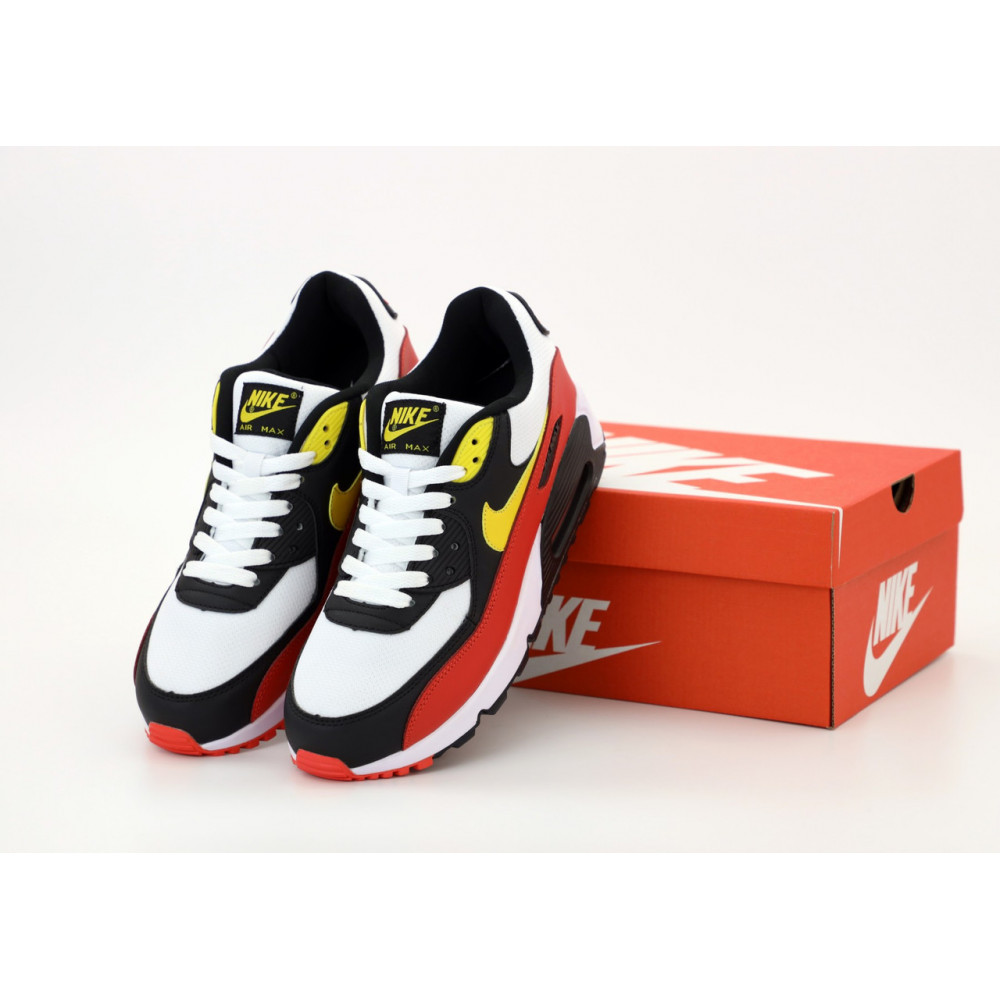 Классические кроссовки мужские - Кроссовки Nike Air Max 90 Black White Red Yellow