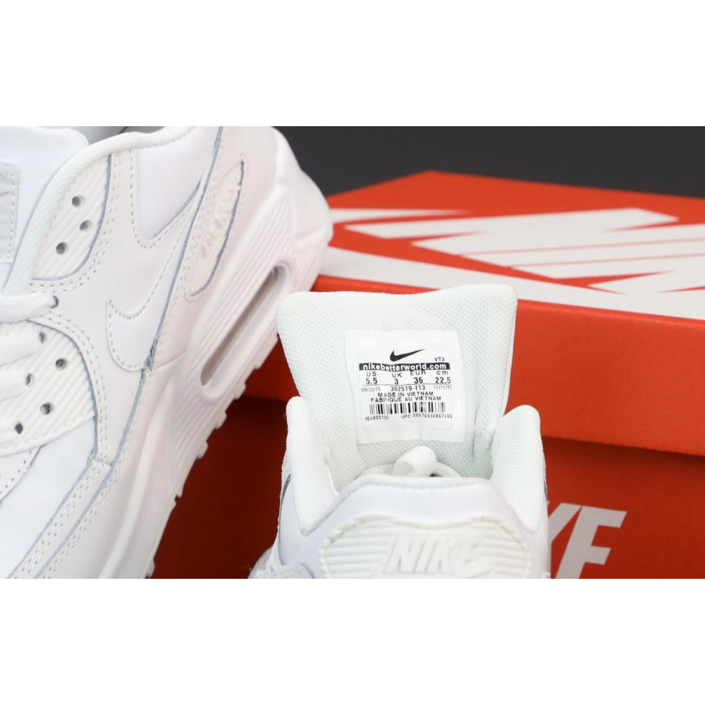 Демисезонные кроссовки мужские   - Белые кроссовки Найк Аир Макс 90 4