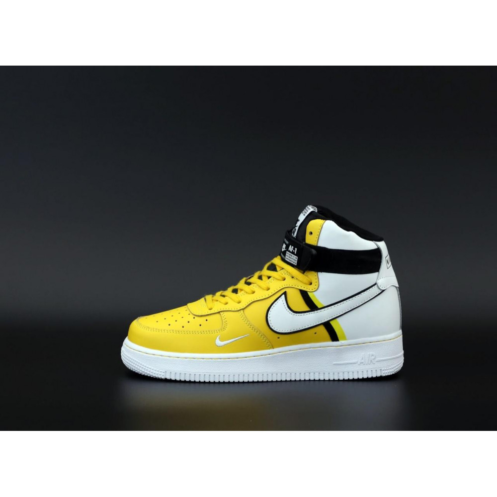 Демисезонные кроссовки мужские   - Мужские кроссовки Nike Air Force 1 AF Mid White Yellow 1