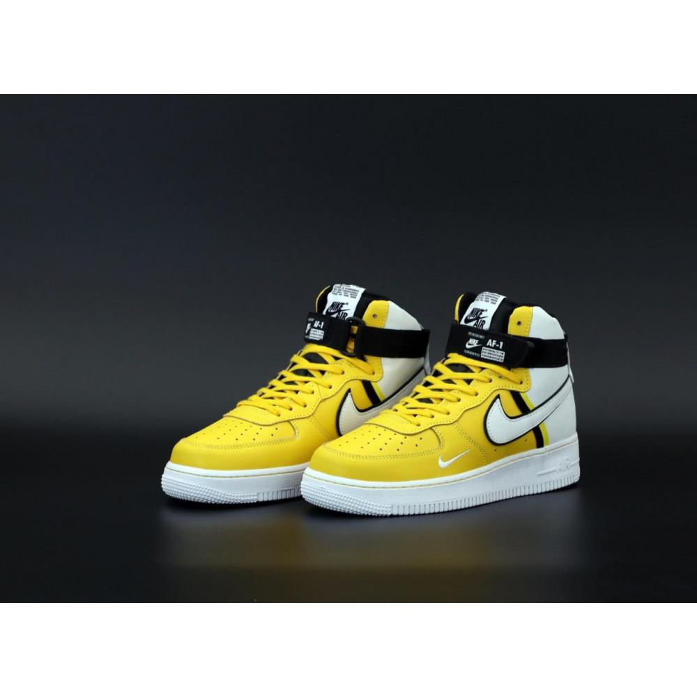 Демисезонные кроссовки мужские   - Мужские кроссовки Nike Air Force 1 AF Mid White Yellow 2
