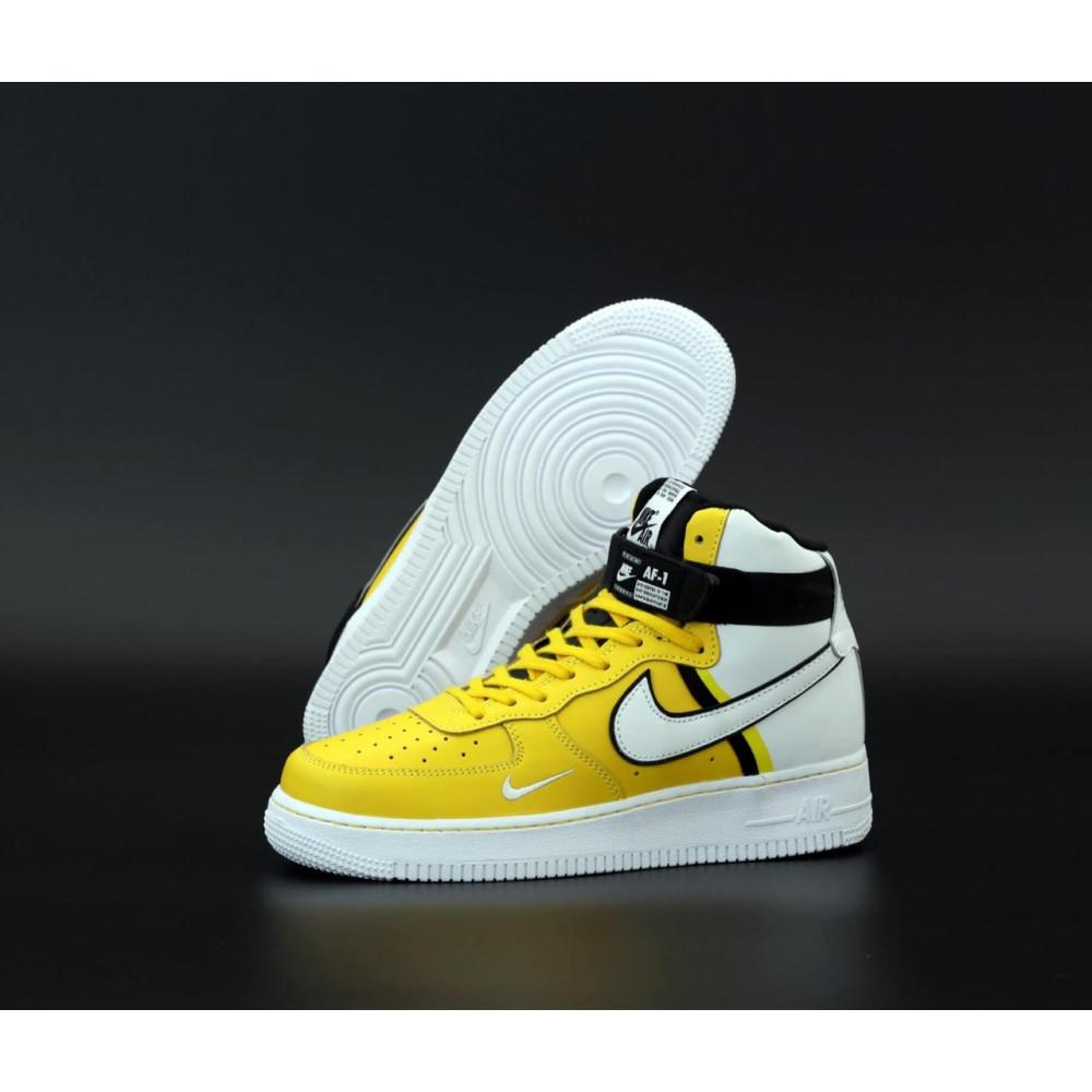 Демисезонные кроссовки мужские   - Мужские кроссовки Nike Air Force 1 AF Mid White Yellow 3