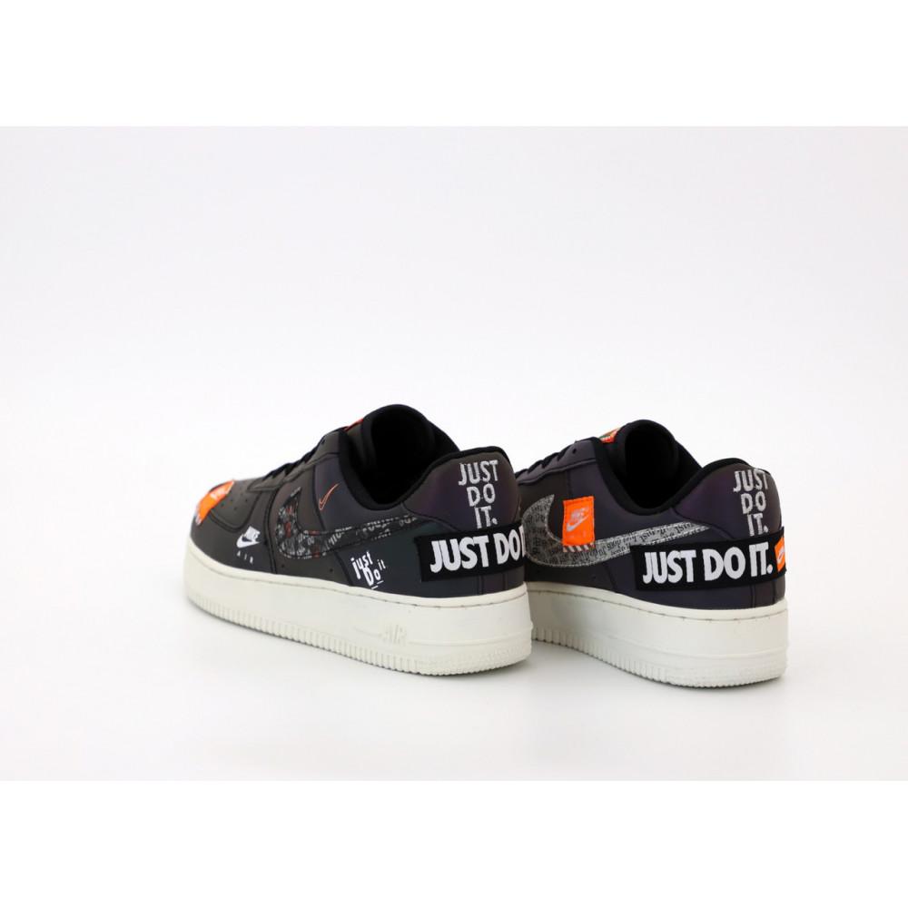Демисезонные кроссовки мужские   - Мужские кроссовки Nike Air Force 1 Just Do It Black Reflective 4