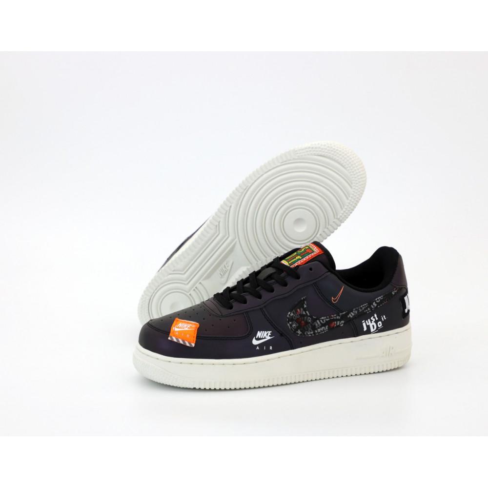 Демисезонные кроссовки мужские   - Мужские кроссовки Nike Air Force 1 Just Do It Black Reflective 1