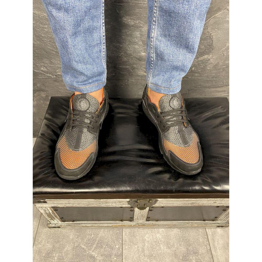 Беговые кроссовки мужские  - Мужские кроссовки текстильные летние черные-рыжие Twix ХУАР 6