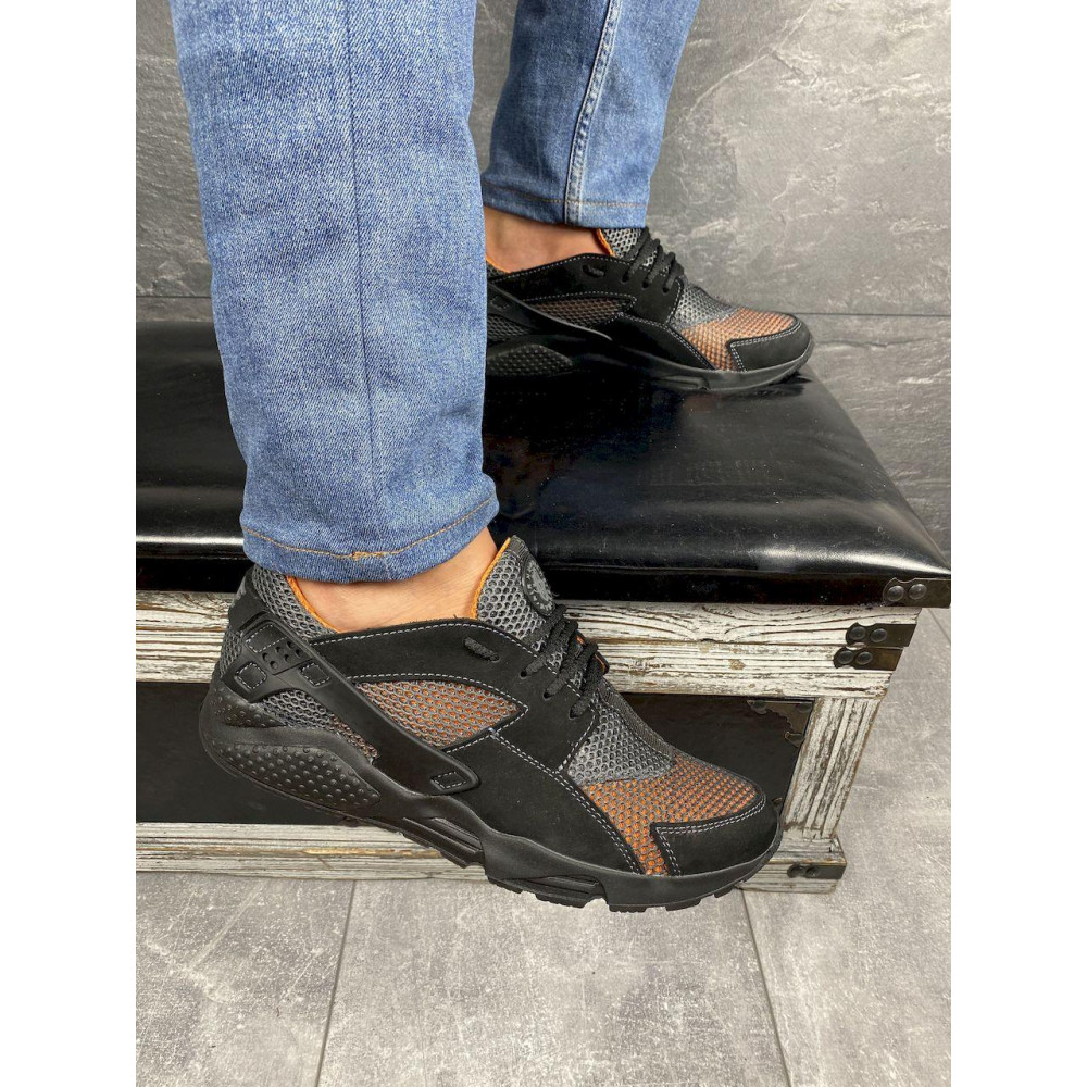 Беговые кроссовки мужские  - Мужские кроссовки текстильные летние черные-рыжие Twix ХУАР 5