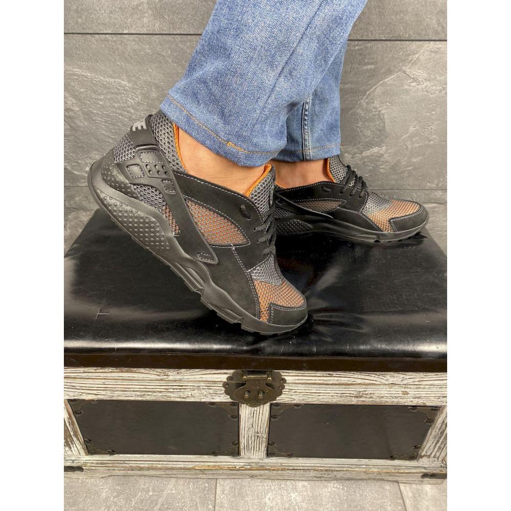 Беговые кроссовки мужские  - Мужские кроссовки текстильные летние черные-рыжие Twix ХУАР 4