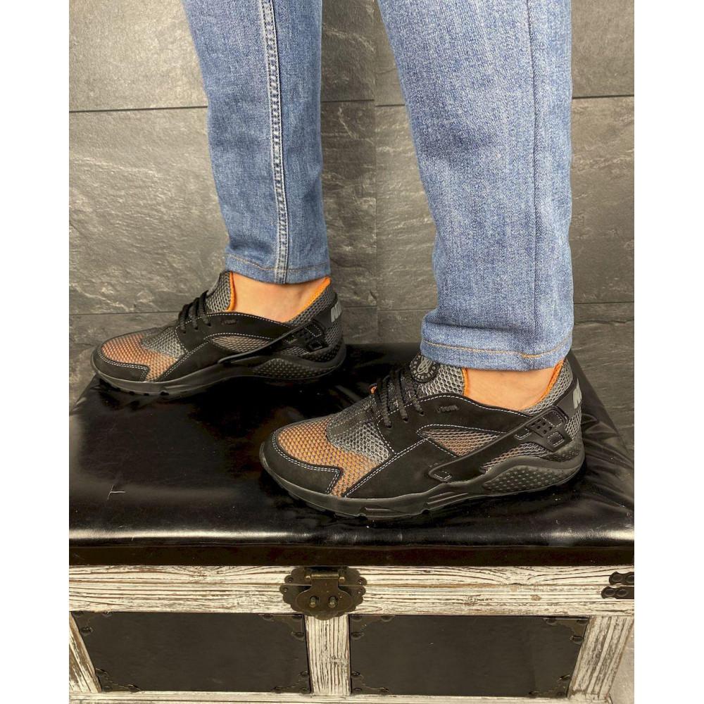 Беговые кроссовки мужские  - Мужские кроссовки текстильные летние черные-рыжие Twix ХУАР 3