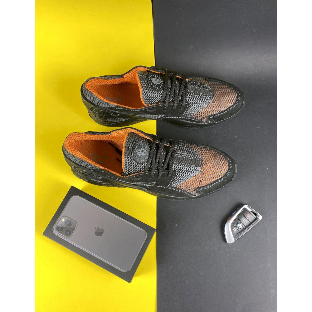 Беговые кроссовки мужские  - Мужские кроссовки текстильные летние черные-рыжие Twix ХУАР 1