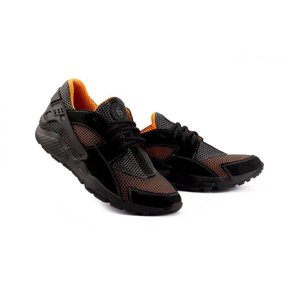 Беговые кроссовки мужские  - Мужские кроссовки текстильные летние черные-рыжие Twix ХУАР