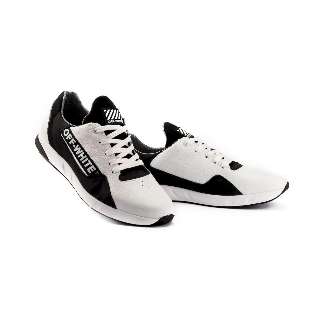 Кожаные кроссовки мужские - Мужские кроссовки кожаные весна/осень белые-черные CrosSAV 413