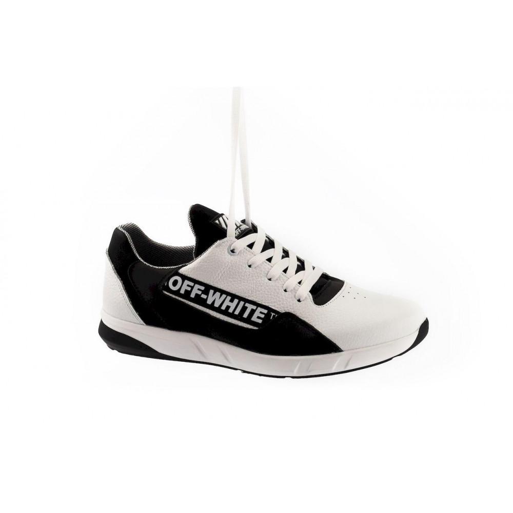 Кожаные кроссовки мужские - Мужские кроссовки кожаные весна/осень белые-черные CrosSAV 413 1