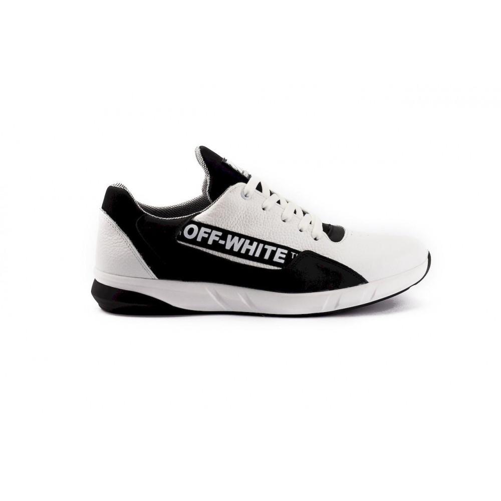 Кожаные кроссовки мужские - Мужские кроссовки кожаные весна/осень белые-черные CrosSAV 413 2