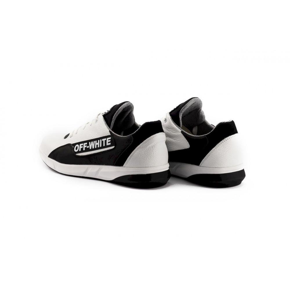 Кожаные кроссовки мужские - Мужские кроссовки кожаные весна/осень белые-черные CrosSAV 413 3