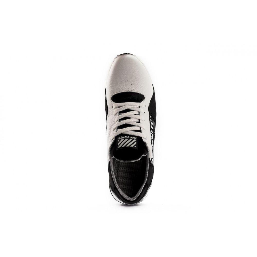 Кожаные кроссовки мужские - Мужские кроссовки кожаные весна/осень белые-черные CrosSAV 413 4