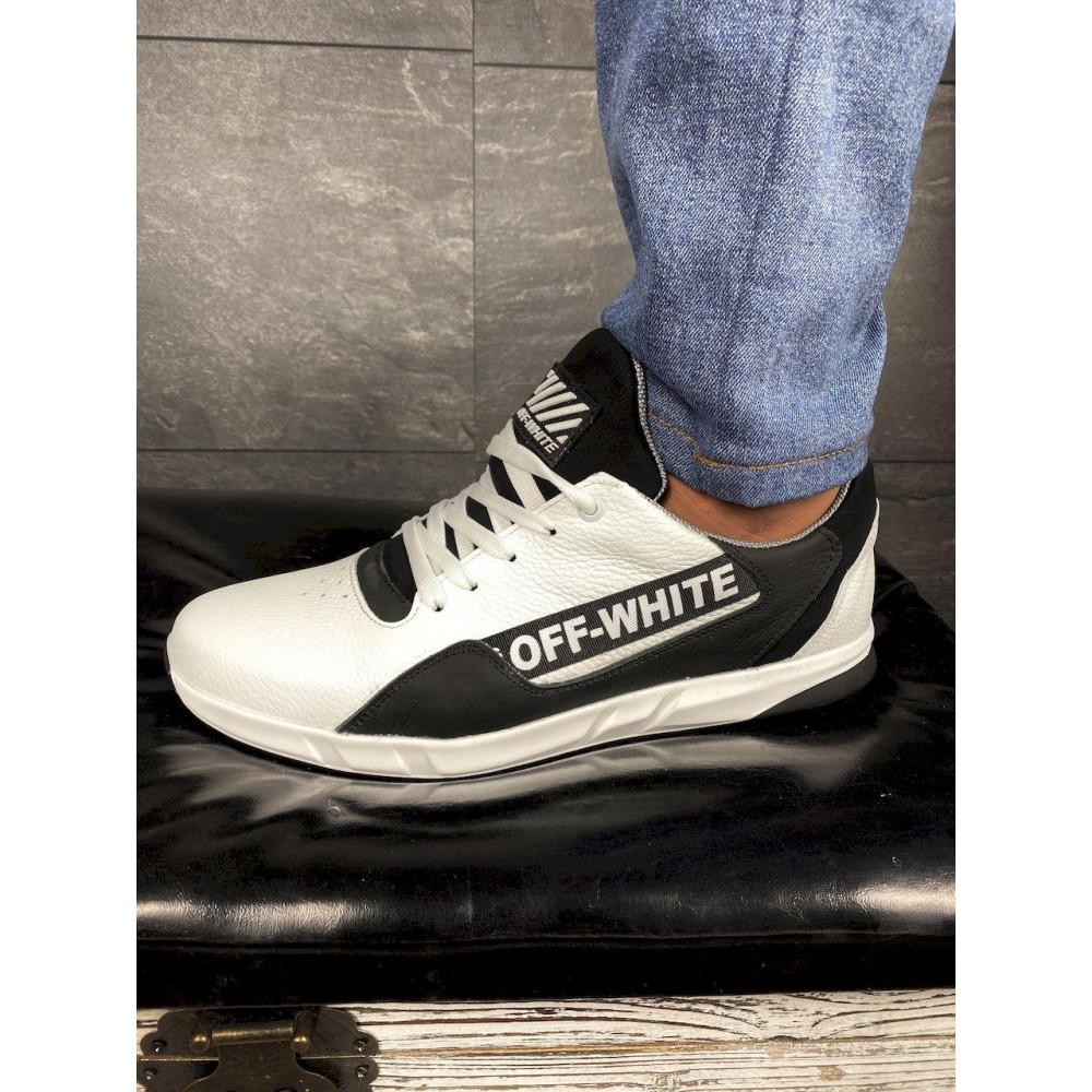 Кожаные кроссовки мужские - Мужские кроссовки кожаные весна/осень белые-черные CrosSAV 413 5