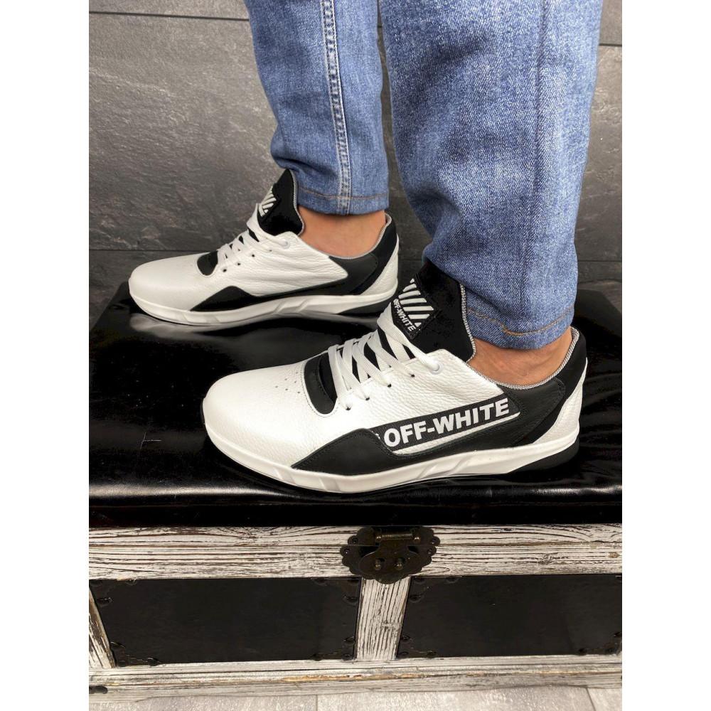 Кожаные кроссовки мужские - Мужские кроссовки кожаные весна/осень белые-черные CrosSAV 413 6