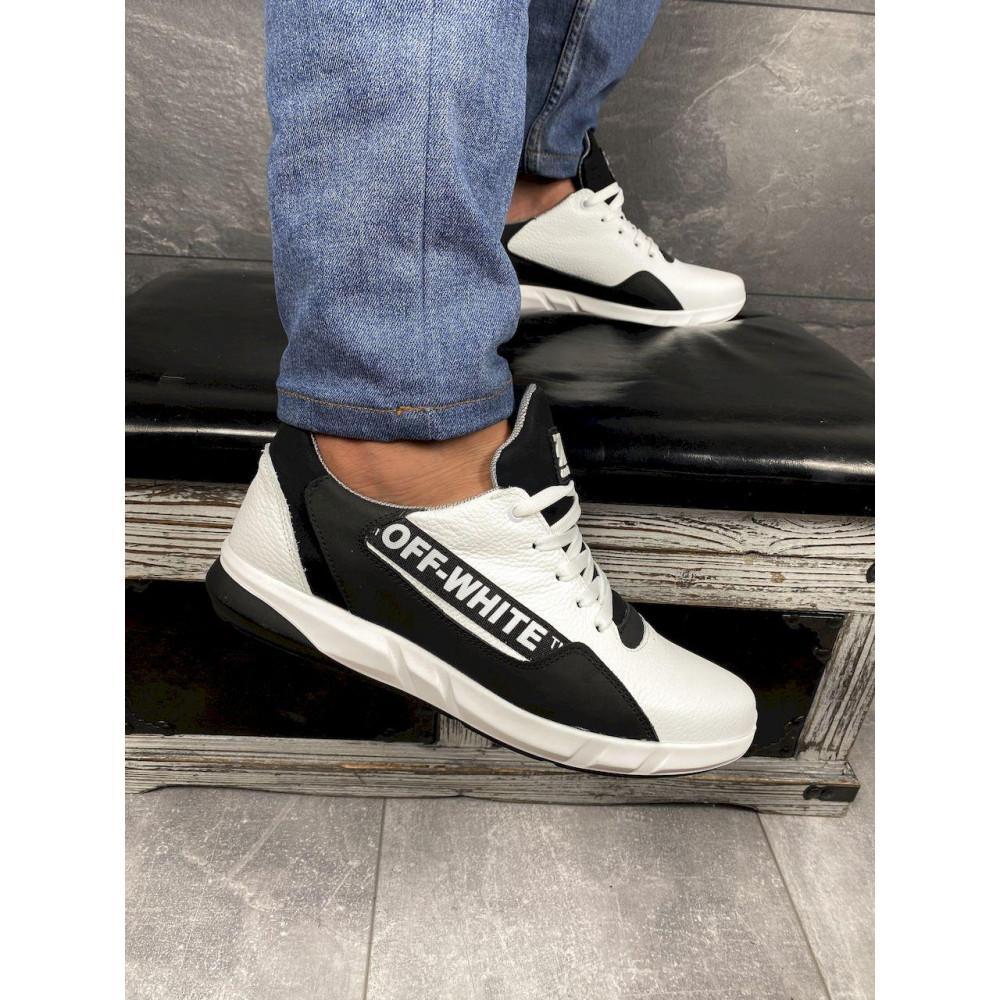 Кожаные кроссовки мужские - Мужские кроссовки кожаные весна/осень белые-черные CrosSAV 413 7