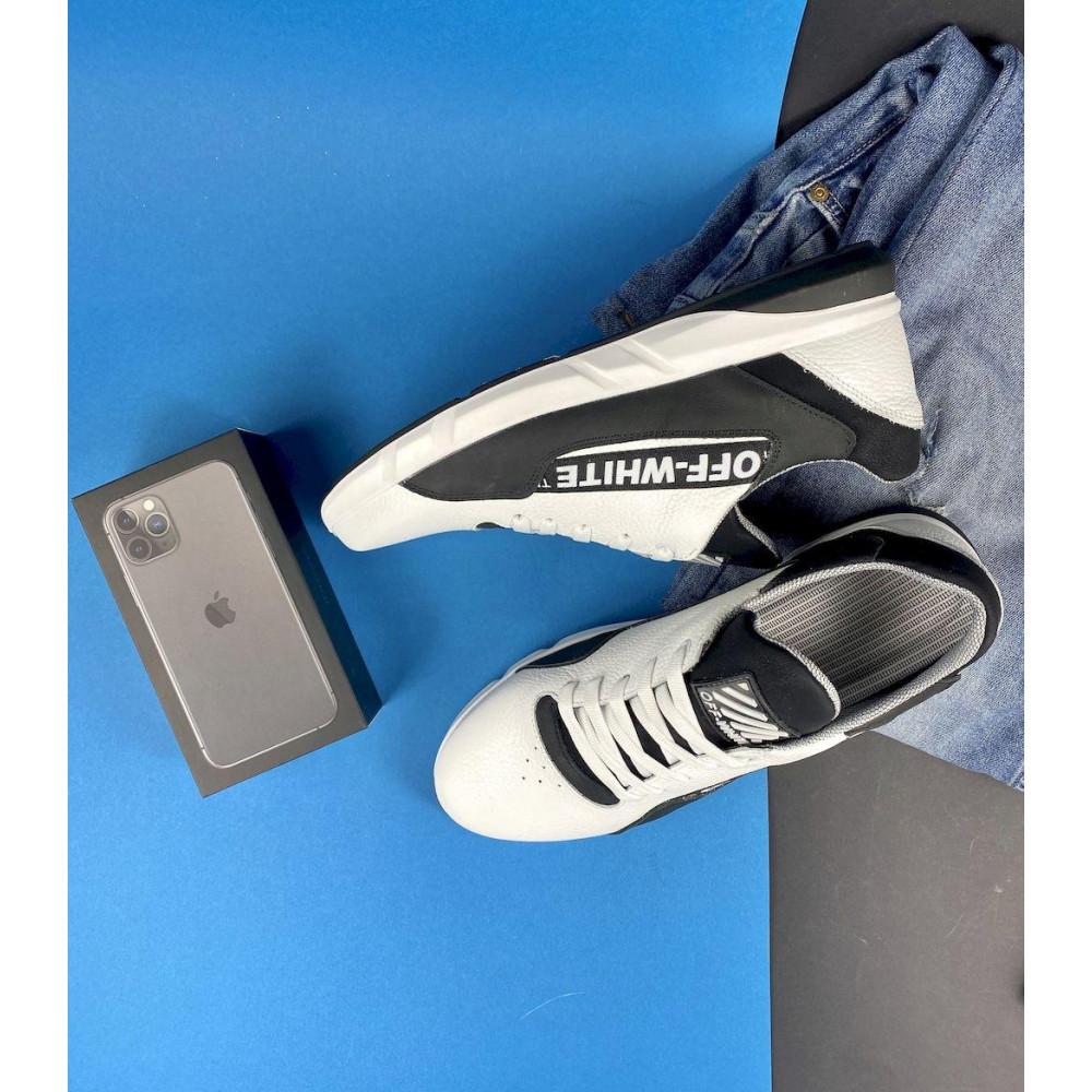 Кожаные кроссовки мужские - Мужские кроссовки кожаные весна/осень белые-черные CrosSAV 413 9