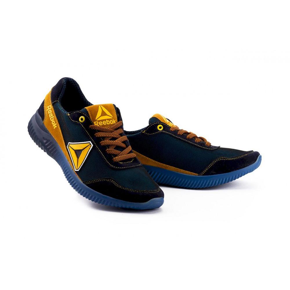 Летние кроссовки мужские - Мужские кроссовки текстильные летние синие-рыжие CrosSAV 20