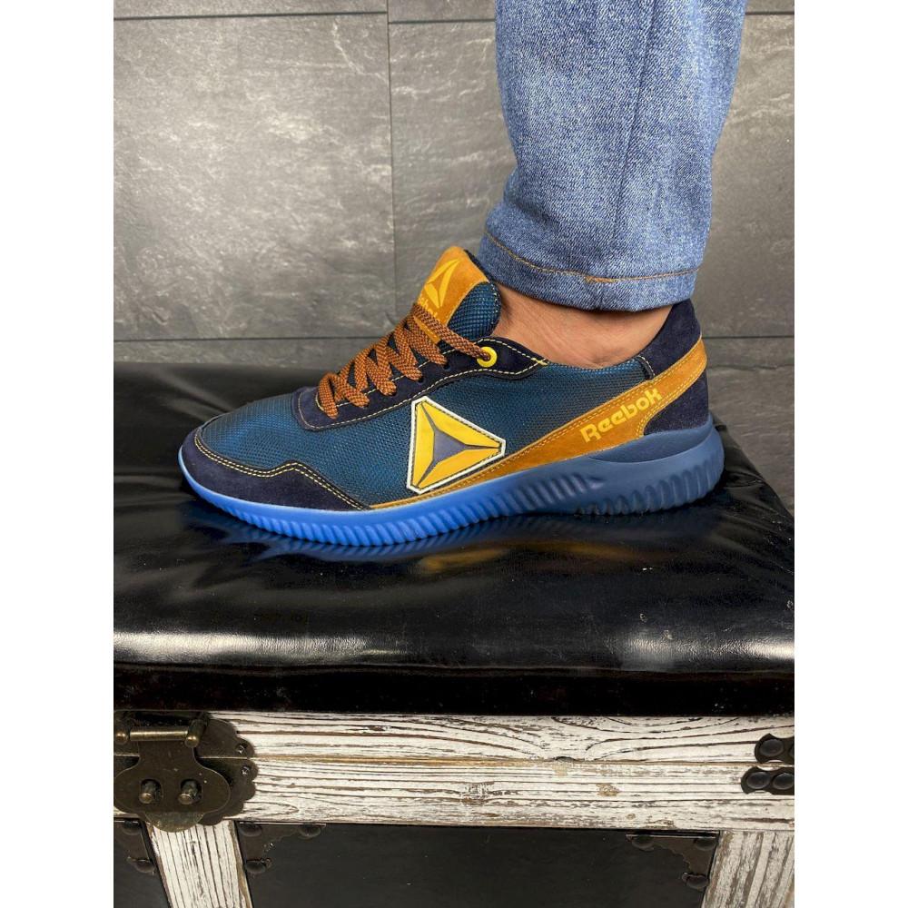 Летние кроссовки мужские - Мужские кроссовки текстильные летние синие-рыжие CrosSAV 20 4