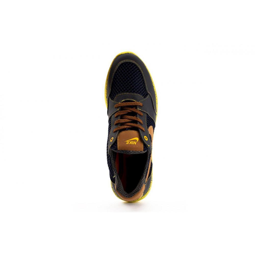 Летние кроссовки мужские - Мужские кроссовки текстильные летние синие-рыжие CrosSAV 10 6