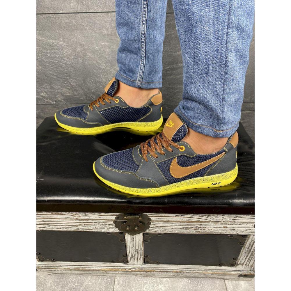 Летние кроссовки мужские - Мужские кроссовки текстильные летние синие-рыжие CrosSAV 10 4