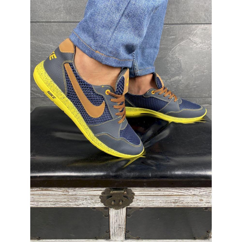 Летние кроссовки мужские - Мужские кроссовки текстильные летние синие-рыжие CrosSAV 10 3