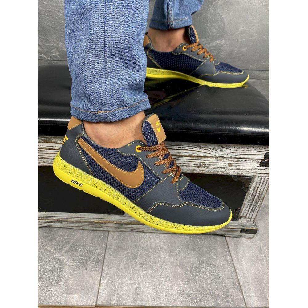 Летние кроссовки мужские - Мужские кроссовки текстильные летние синие-рыжие CrosSAV 10 2