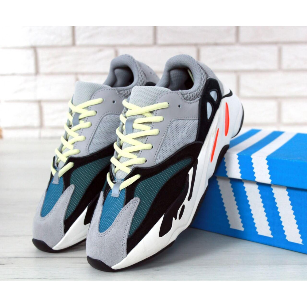 Демисезонные кроссовки мужские   - Яркие кроссовки Adidas Yeezy Wave Runner 700 Solid Grey Chalk 5