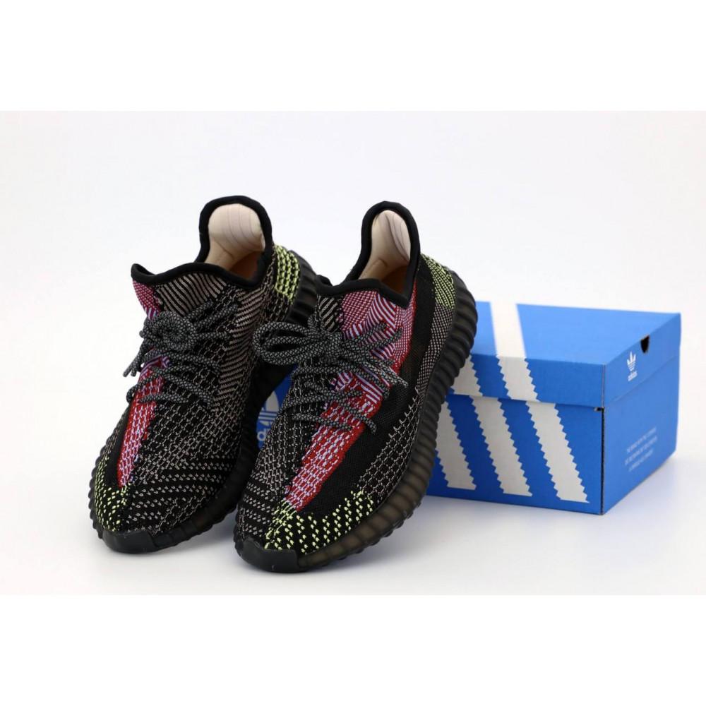 Демисезонные кроссовки мужские   - Черные рефлективные кроссовки Adidas Yeezy Boost 350