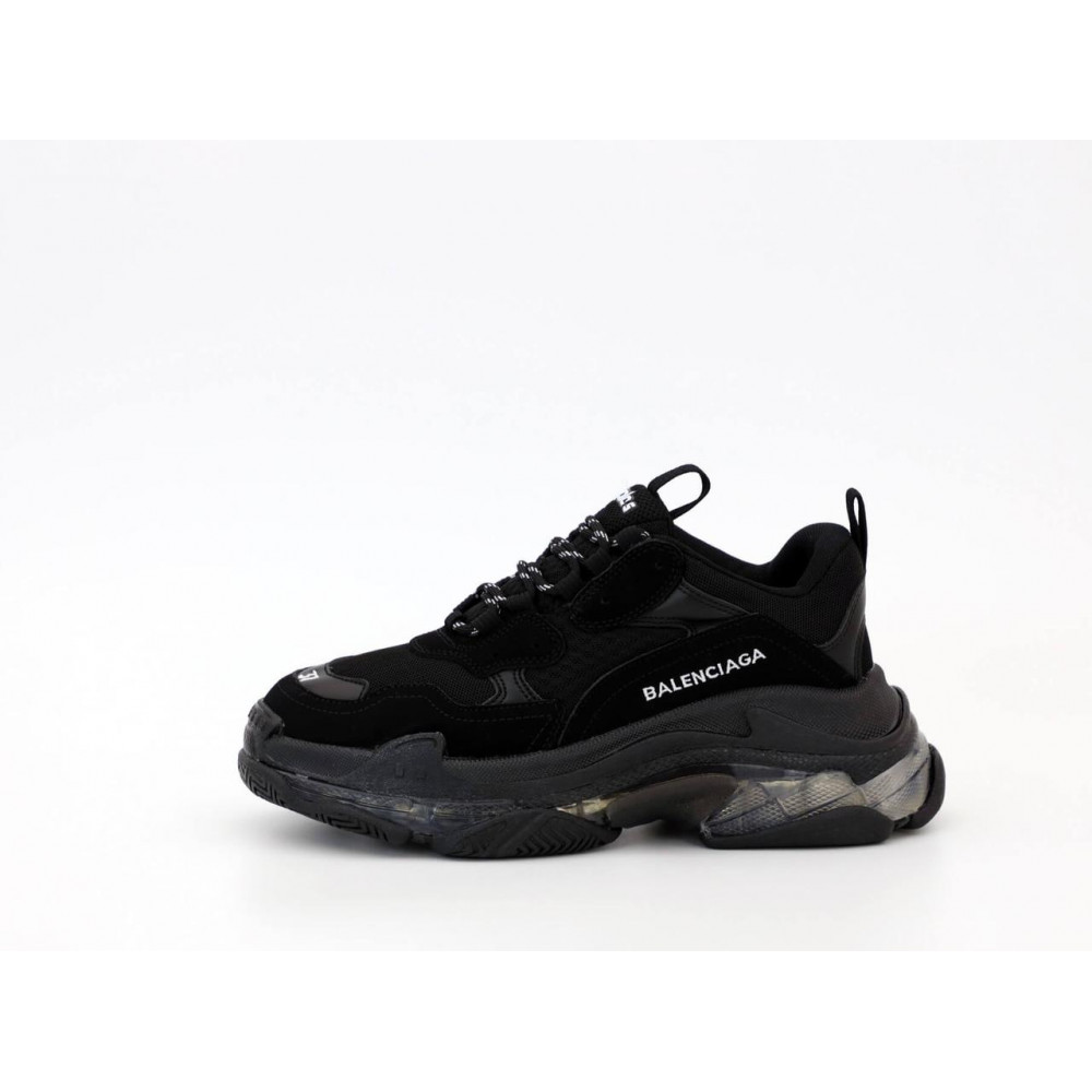 Демисезонные кроссовки мужские   - Кроссовки Balenciaga Triple S черного цвета 8