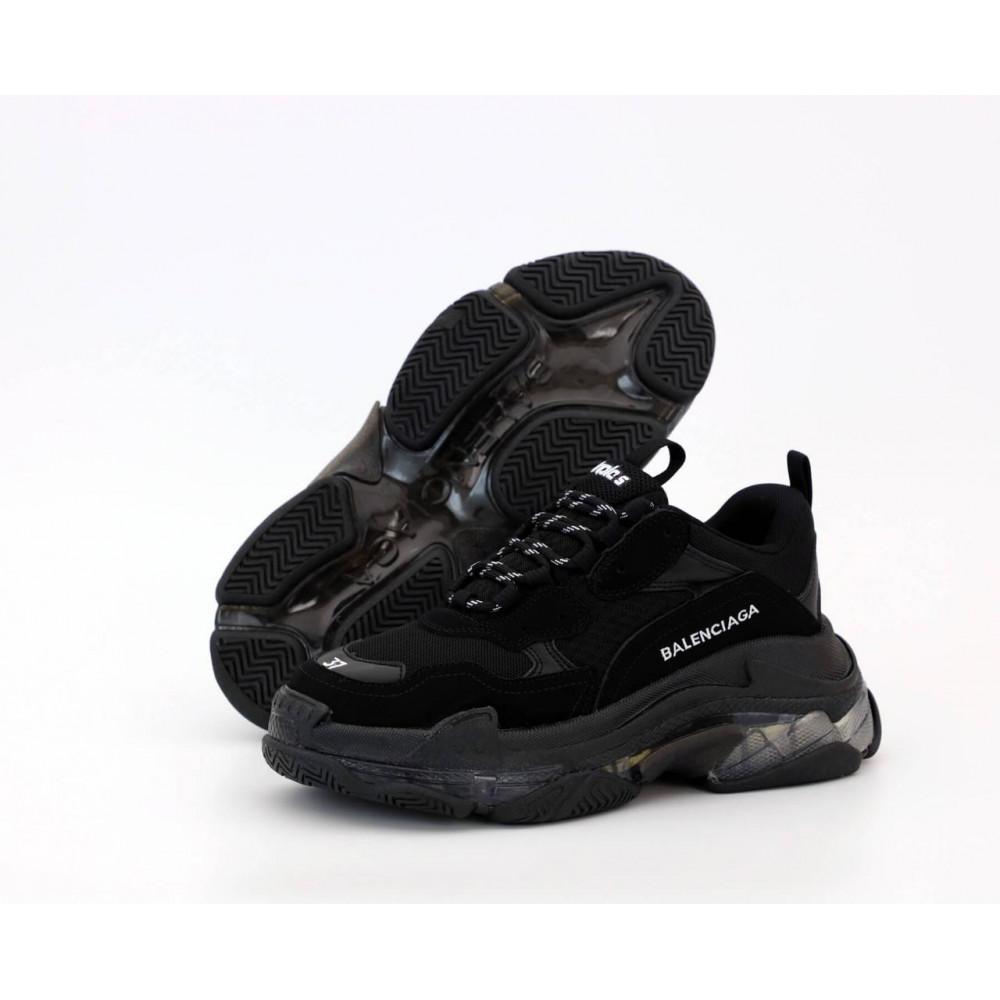 Демисезонные кроссовки мужские   - Кроссовки Balenciaga Triple S черного цвета 9