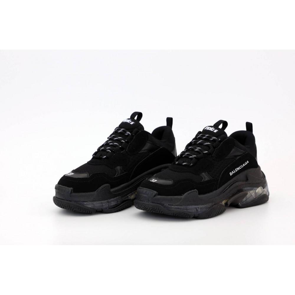 Демисезонные кроссовки мужские   - Кроссовки Balenciaga Triple S черного цвета 7