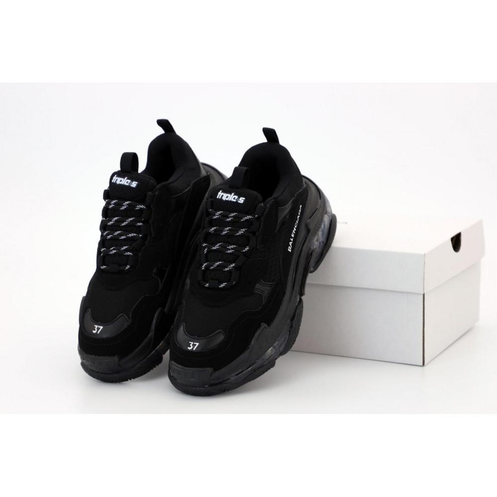 Демисезонные кроссовки мужские   - Кроссовки Balenciaga Triple S черного цвета