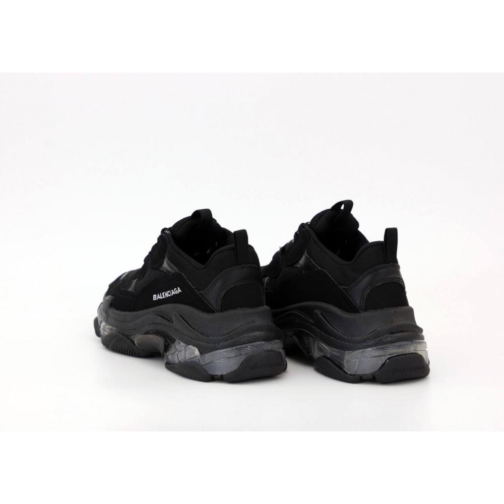 Демисезонные кроссовки мужские   - Кроссовки Balenciaga Triple S черного цвета 6