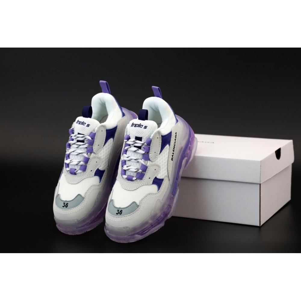 Демисезонные кроссовки мужские   - Кроссовки Balenciaga Triple S White Grey Blue