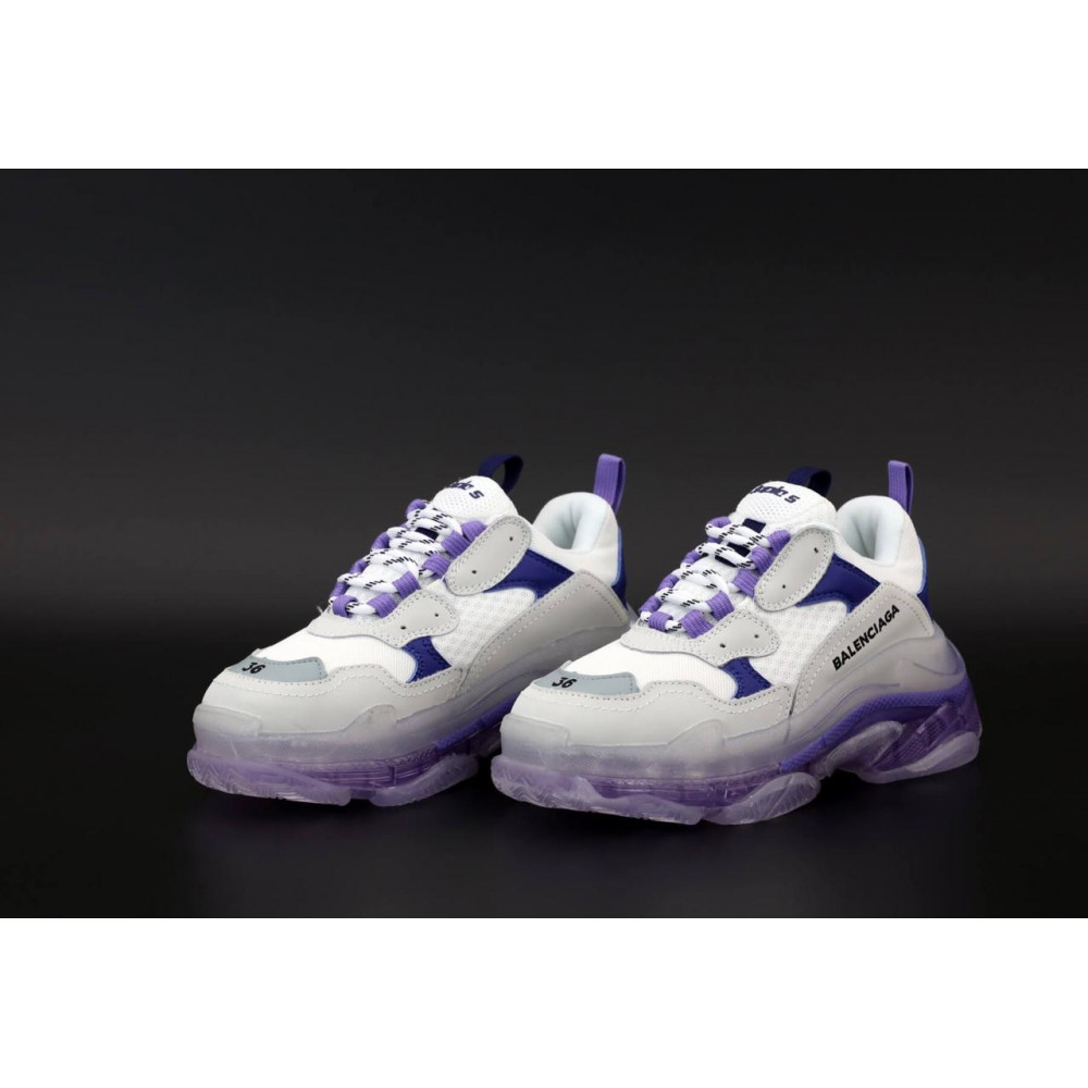 Демисезонные кроссовки мужские   - Кроссовки Balenciaga Triple S White Grey Blue 3