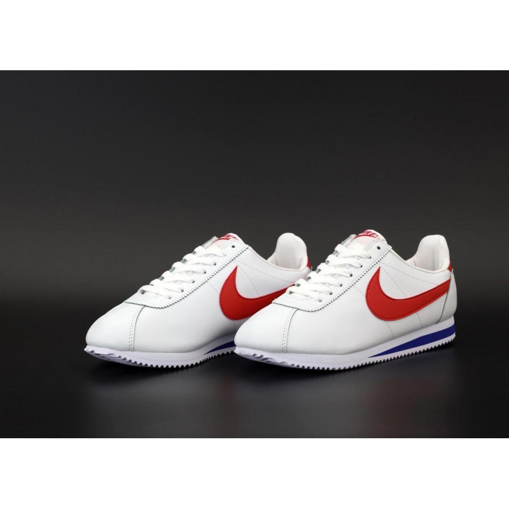 Кроссовки - Кроссовки Nike Cortez Leather белые с красным 3
