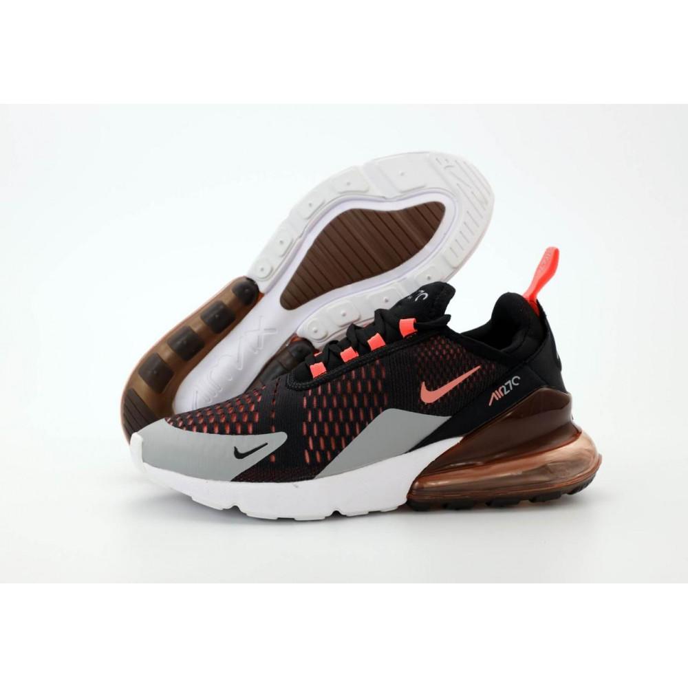Классические кроссовки мужские - Кроссовки Nike Air Max 270 черно-серо-оранжевые 1
