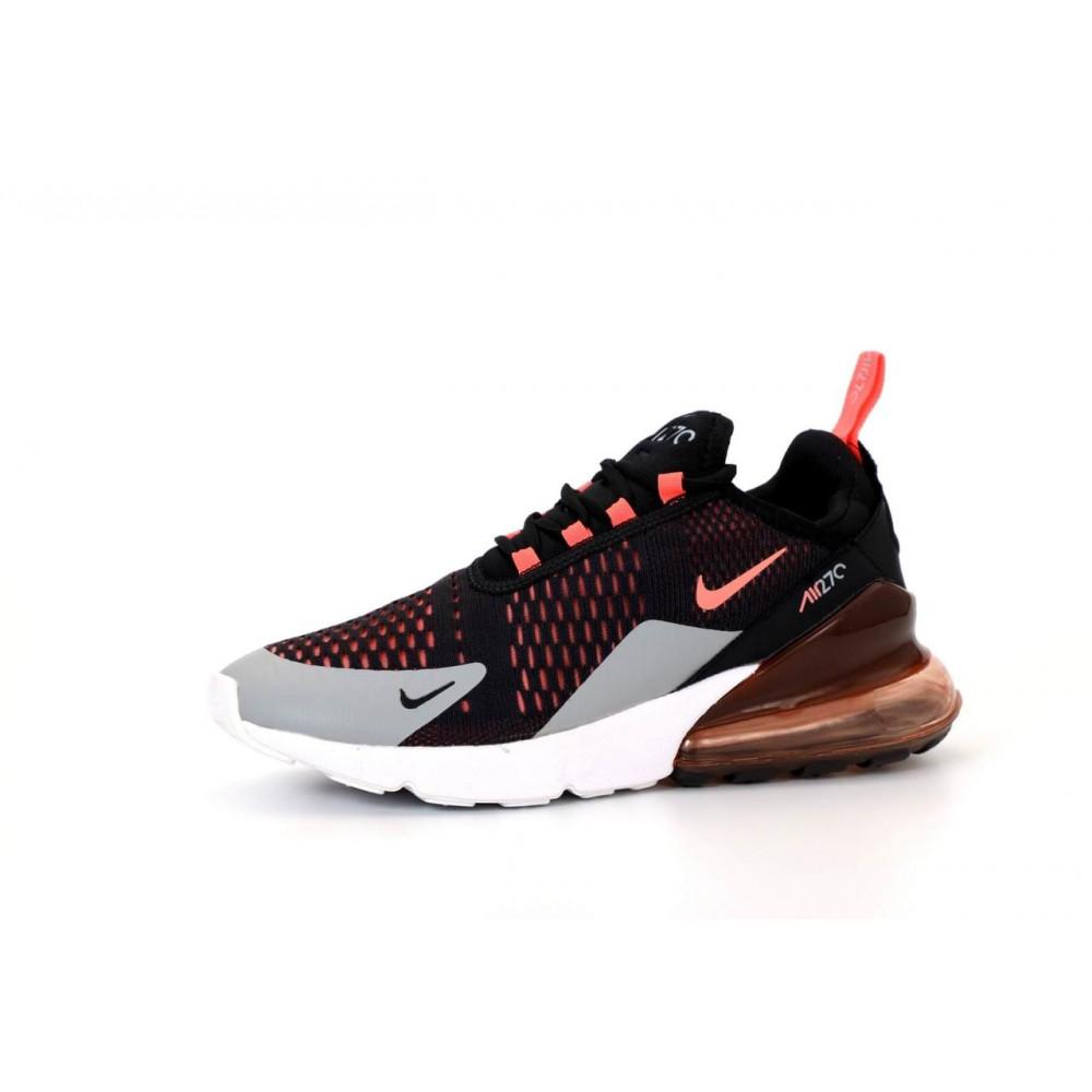 Классические кроссовки мужские - Кроссовки Nike Air Max 270 черно-серо-оранжевые 2