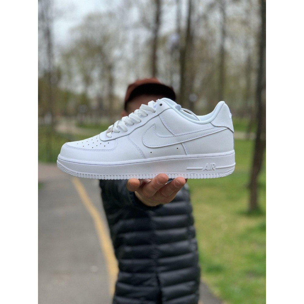 Демисезонные кроссовки мужские   - Кроссовки белые низкие натуральная кожа Nike Air Force Найк Аир Форс (43,44,45) 6