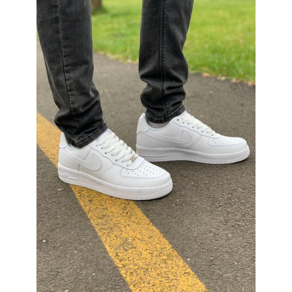 Демисезонные кроссовки мужские   - Кроссовки белые низкие натуральная кожа Nike Air Force Найк Аир Форс (43,44,45) 2