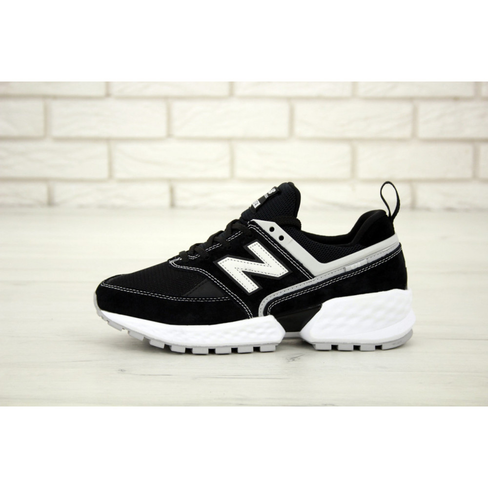 Классические кроссовки мужские - Мужские кроссовки New Balance 574 V2 Sport Black White (Нью Баланс 574 черно-белые) 2