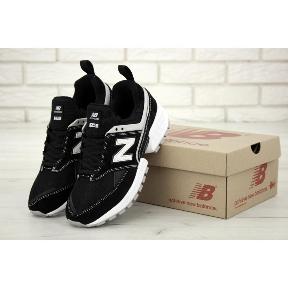 Классические кроссовки мужские - Мужские кроссовки New Balance 574 V2 Sport Black White (Нью Баланс 574 черно-белые)