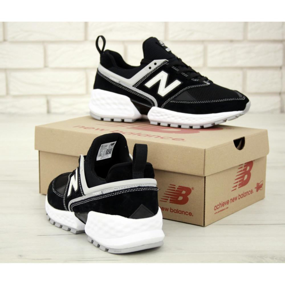 Классические кроссовки мужские - Мужские кроссовки New Balance 574 V2 Sport Black White (Нью Баланс 574 черно-белые) 5