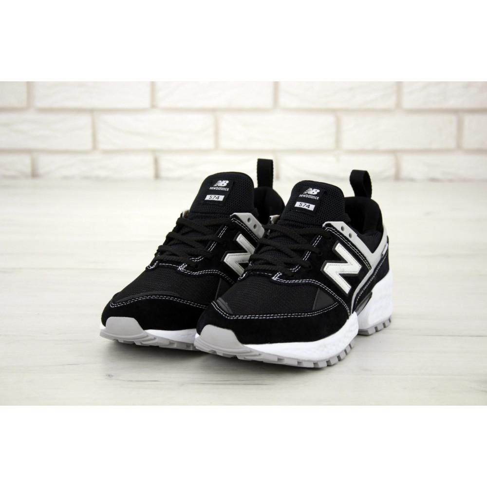 Классические кроссовки мужские - Мужские кроссовки New Balance 574 V2 Sport Black White (Нью Баланс 574 черно-белые) 3