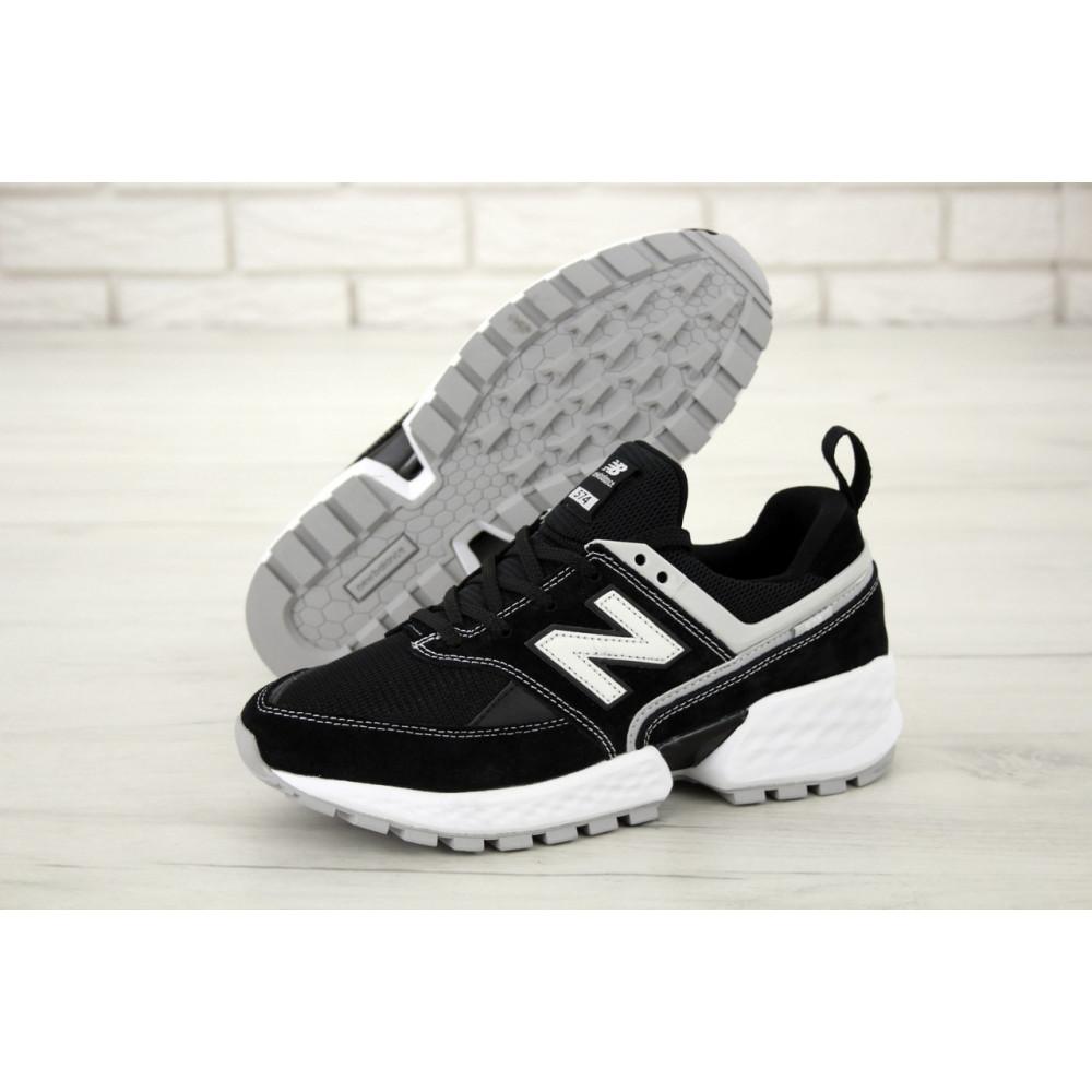 Классические кроссовки мужские - Мужские кроссовки New Balance 574 V2 Sport Black White (Нью Баланс 574 черно-белые) 1