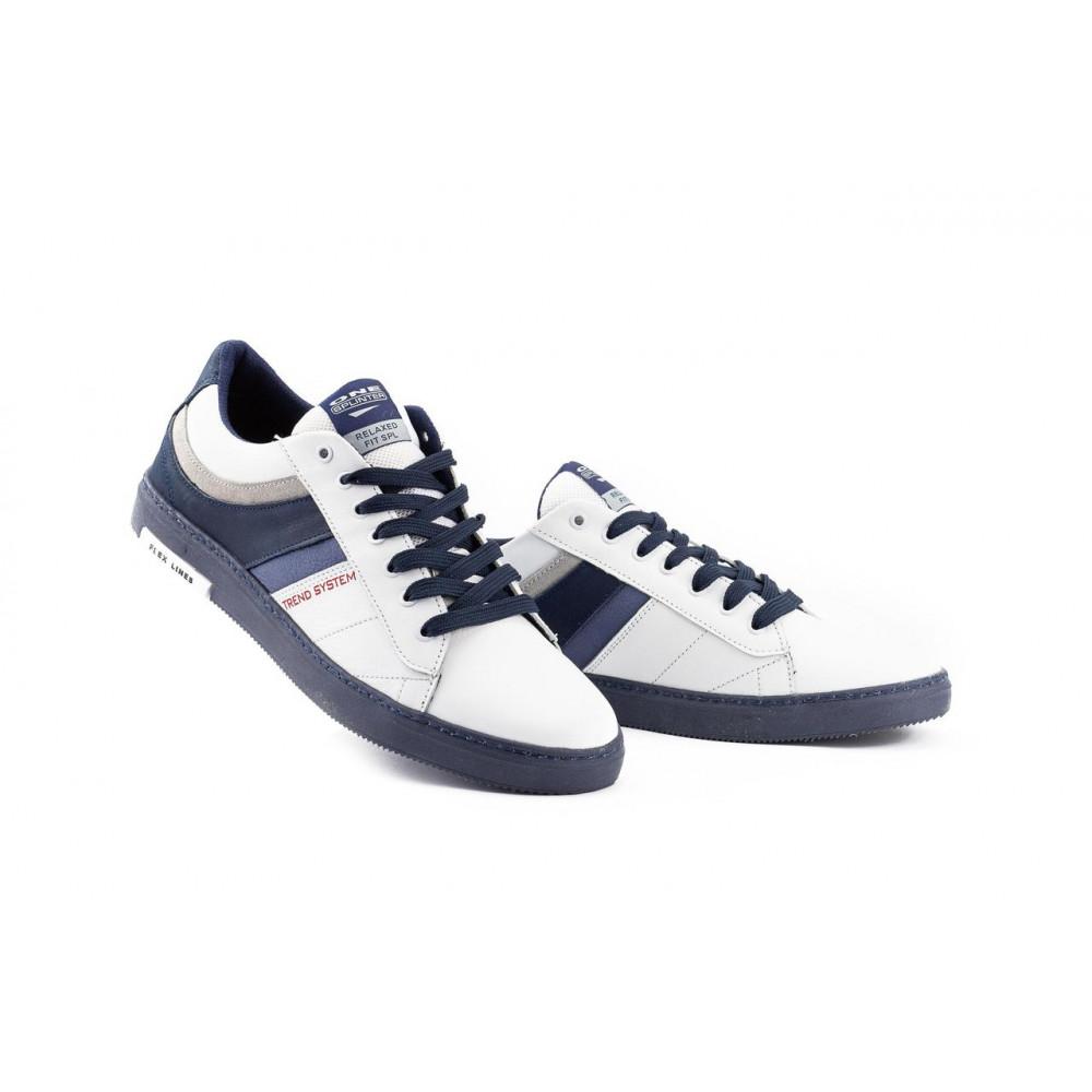 Мужские кеды кожаные - Мужские кеды кожаные весна/осень белые-синие Splinter Relaxed 1320 3