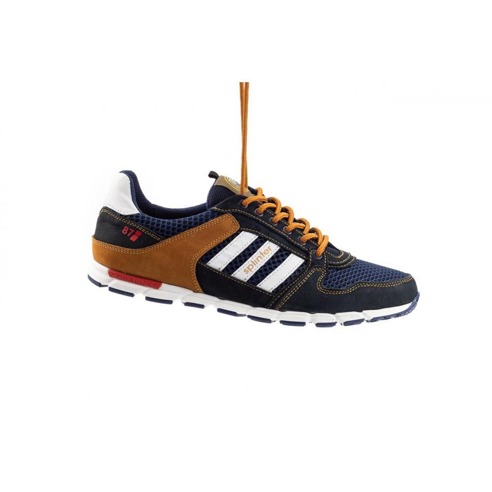 Летние кроссовки мужские - Мужские кроссовки текстильные летние синие-коричневые Splinter 3614