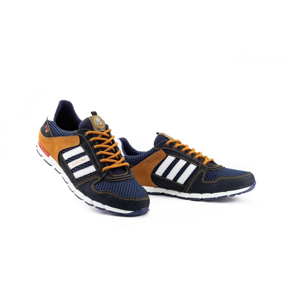 Летние кроссовки мужские - Мужские кроссовки текстильные летние синие-коричневые Splinter 3614 4